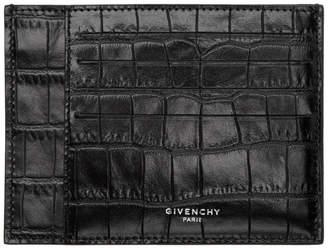 Givenchy Black Croc Flat Card Holder