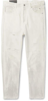 Balmain Distressed Printed Denim Jeans - Men - White