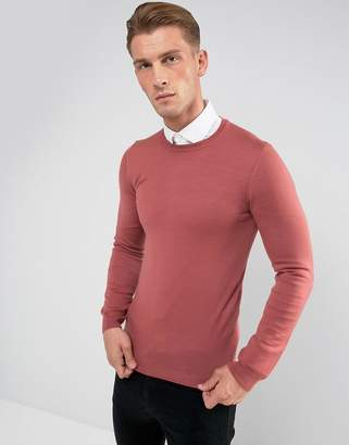 Asos Muscle Fit Merino Wool Sweater In Rose Pink
