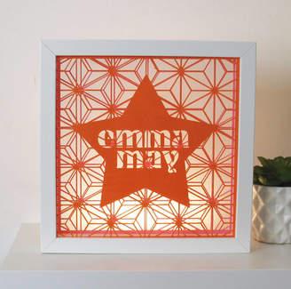 Papercult Design Framed Personalised Geometric Star Name Papercut Art