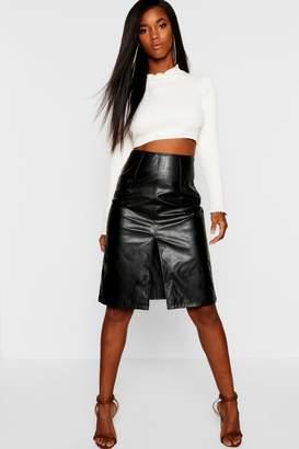 boohoo PU Leather Look Midi Skirt