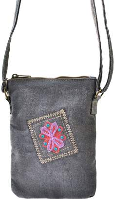 Vintage Addiction Embroidered Blue-StainedTent Small Crossbody Bag