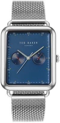 Ted Baker Blue Rectangular Dial Stainless Steel Mesh Strap Mens Watch