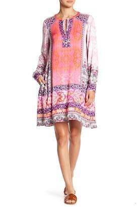 Hale Bob Patterned Split Neck Dress