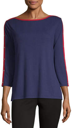 Liz Claiborne Womens Boat Neck 3/4 Sleeve T-Shirt