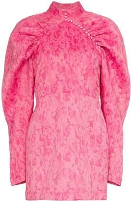 Rotate Voluminous Sleeve Jacquard Mini Dress