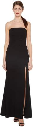 Jill Stuart Strapless Hourglass Gown with Center Buttons, Front Slit and Side Pockets Women's Dress