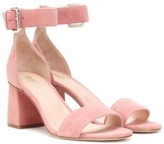 RED (V) suede block heel pumps