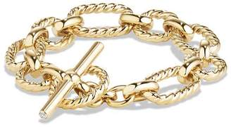 David Yurman Chain Cushion Link Bracelet with Diamonds in 18K Gold