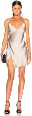 Mason by Michelle Mason for FWRD Strappy Wrap Mini Dress in Champagne Satin   FWRD