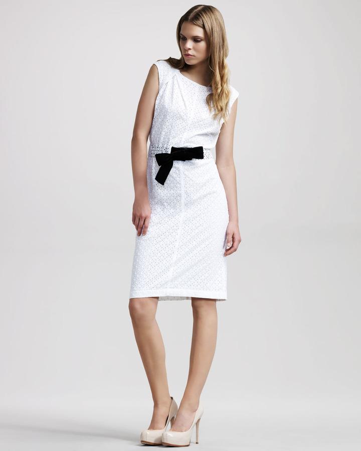 Altuzarra Dapple Contrast-Bow Sheath Dress