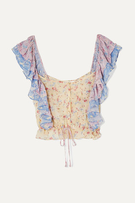 LoveShackFancy Avery Cropped Ruffled Floral-print Silk-georgette Top - Baby pink