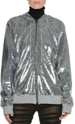 Tom Ford Zip-Front Hooded Sequin Jacket