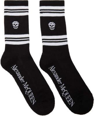 Alexander McQueen Black and White Glittered Stripe Skull Sport Socks