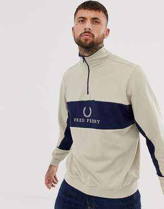 Fred Perry Sports Authentic half zip over head sweat jacket in stone