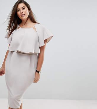 Asos Double Layer Midi Wiggle Dress with Angel Sleeve