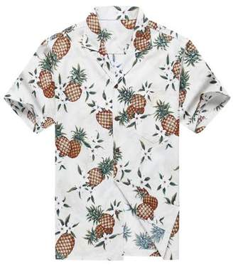 Hawaii Hangover Made in Hawaii Men's Hawaiian Shirt Aloha Shirt Golden Pineapple in White