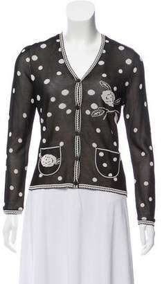 Chanel Camellia & Polka Dot Intarsia V-Neck Cardigan