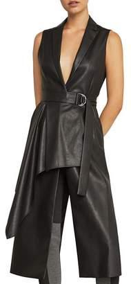 BCBGMAXAZRIA Draped Faux Leather Vest
