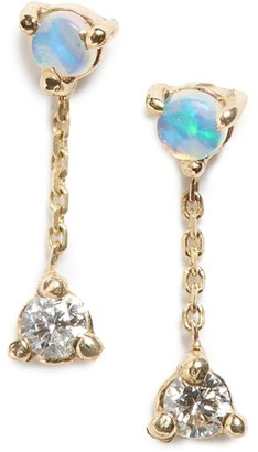 Women's Wwake 'Counting Collection - Small Two-Step' Opal & Diamond Drop Earrings $430 thestylecure.com
