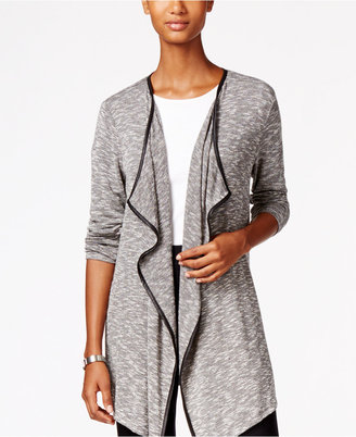 Style & Co. Draped Faux-Leather-Trim Cardigan, Only at Macy's $49.50 thestylecure.com