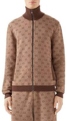 Gucci Men's GG Logo Zip-Front Turtleneck Sweater