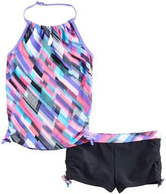 Free Country Girls 4-16 Halter Tankini Top & Shorts Swimsuit Set