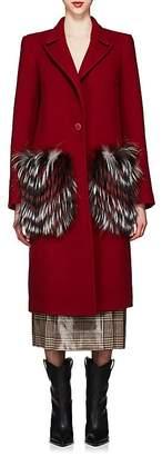 Fendi Women's Fur-Pocket Melton Coat