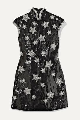 Andrew Gn Embellished Sequined Silk-blend Georgette Mini Dress - Black