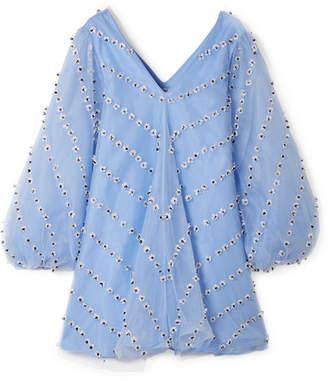 Ganni Rosenfeld Embellished Tulle Mini Dress - Sky blue