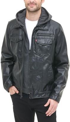 Levi's Levis Men's Hooded Faux-Leather Sherpa-Lined Trucker Jacket