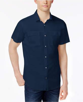 Calvin Klein Men Stretch Snap-Front Dual-Pocket Shirt