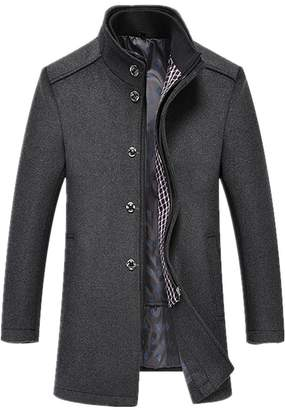 F&F Mr. FF Men's Single Breasted Long Wool Trench Coats,Detachable Vest,Two Colors