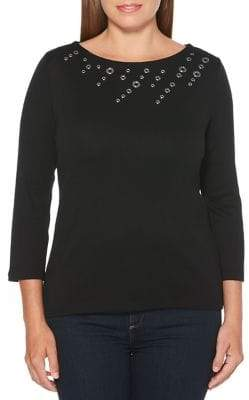 Rafaella Embellished Three-Quarter Sleeve Sweater