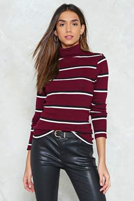 Nasty Gal Stripe Side of Wrong Turtleneck Sweater