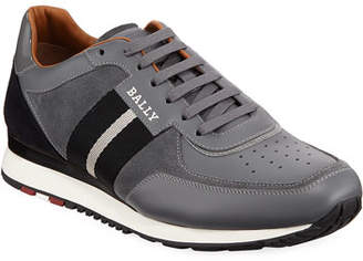Bally Men's Aston New5 Leather Sneakers w/ Trainspotting Stripe