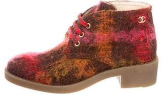 Chanel Tweed Round-Toe Ankle Boots