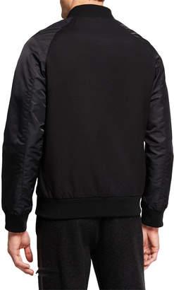 Karl Lagerfeld Paris Men's Mixed-Media Bomber Jacket