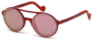 Moncler Round Mirrored Overlay-Lens Sunglasses