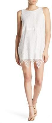 Love, Fire Sleeveless Lace Knit Trapeze Dress