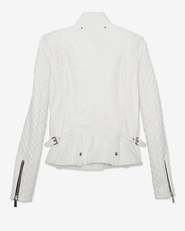 Barbara Bui Zipper Detail Quilted Leather Jacket: White