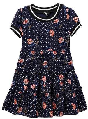 Zunie Short Sleeve Printed Floral Pebble Crepe Dress (Little Girls)