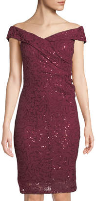Marina Embroidered Sequin Off-the-Shoulder Body Con Dress
