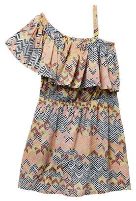 Ella Moss One Shoulder Print Dress (Big Girls)