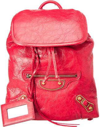 Balenciaga Metallic Edge Traveler Leather Backpack