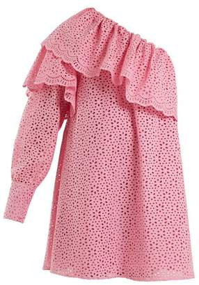 MSGM One Shoulder Broderie Anglaise Cotton Dress - Womens - Pink