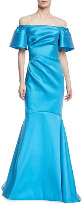Theia Off-the-Shoulder Metallic Super Stretch Trumpet Gown