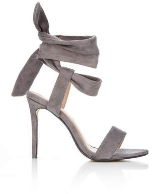 Wallis Grey Ankle Tie Heeled Sandal