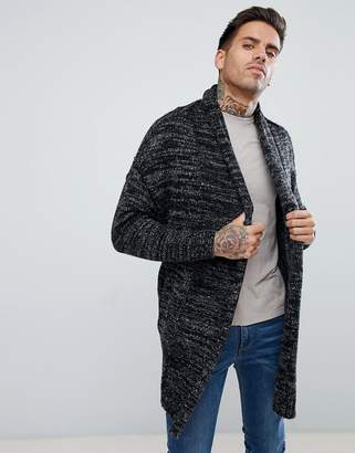 Bershka Oversized Knit Cardigan In Gray Marl