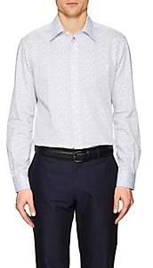 Luciano Barbera MEN'S DOTTED COTTON POPLIN SHIRT - WHITE SIZE XL